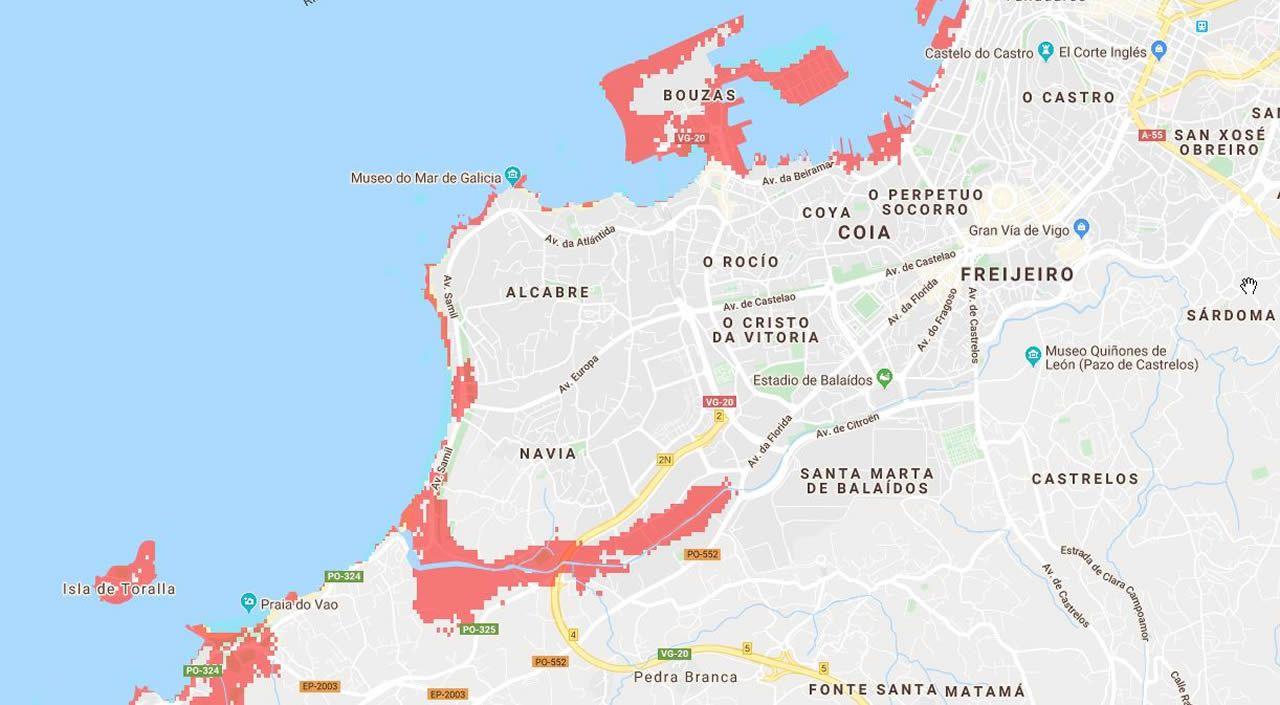 El Mapa De La Galicia Que Quedara Sumergida Dentro De 30 Anos Si
