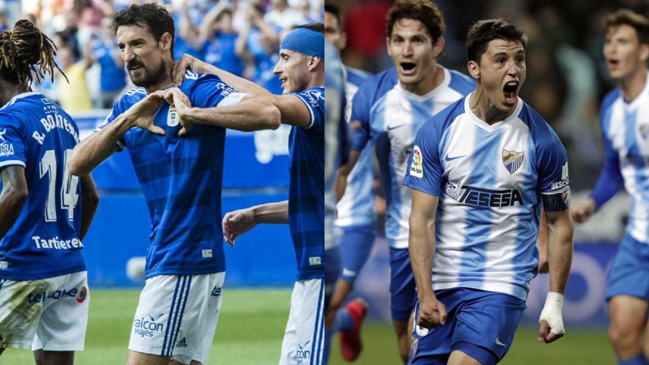 Toché (Real Oviedo) y Ricca (Málaga) celebran un gol