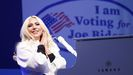 Lady Gaga, en un mitin de campaña de Biden