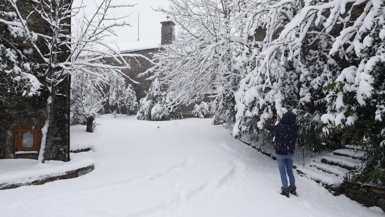Veinte centímetros de nieve en O Cebreiro.Nieve en Pajares