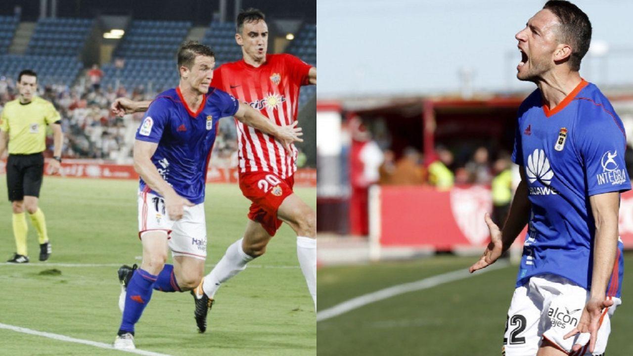 Hidi y Rocha con la camiseta del Real Oviedo