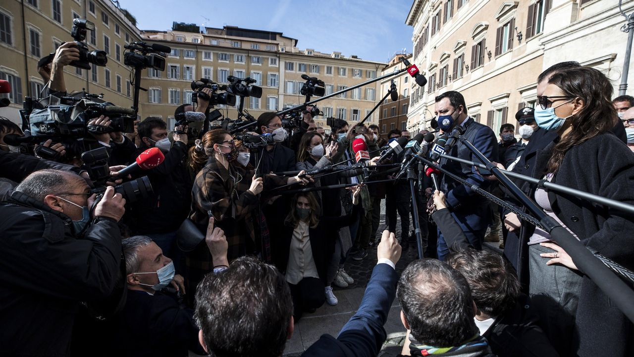 Salvini habla con la prensa tras su reunión con Draghi