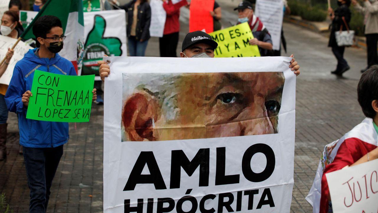 Manifestación contra el presidente Obrador en Jalisco mientras se reunía con Trump en Washington