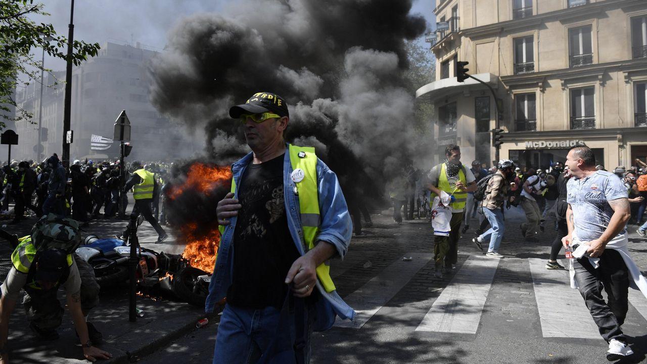 Manifestación de chalecos amarillos, el pasado abril, en las calles de París