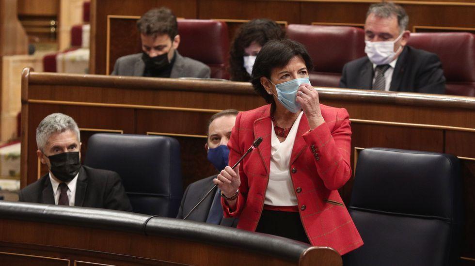 La ministra Isabel Celaá, esta mañana en la sesión de control al Gobierno en el Congreso de los Diputados