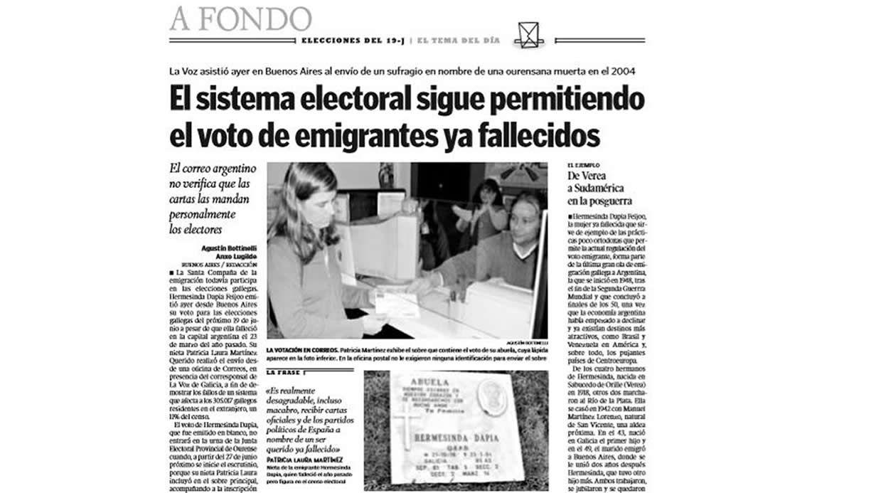 Página publicada por La Voz el 7 de junio del 2005