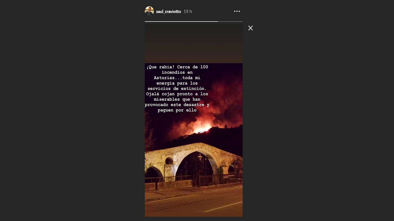 Saúl Craviotto comparte su rabia por los incendios en Asturias
