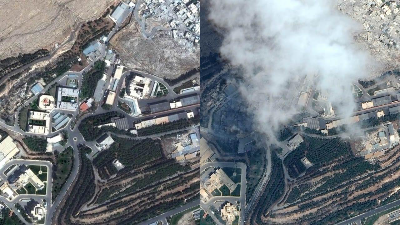 El antes y el después de los tres objetivos del ataque aliado sobre Siria.La pista del aeropuerto de Asturias, desde la torre de control