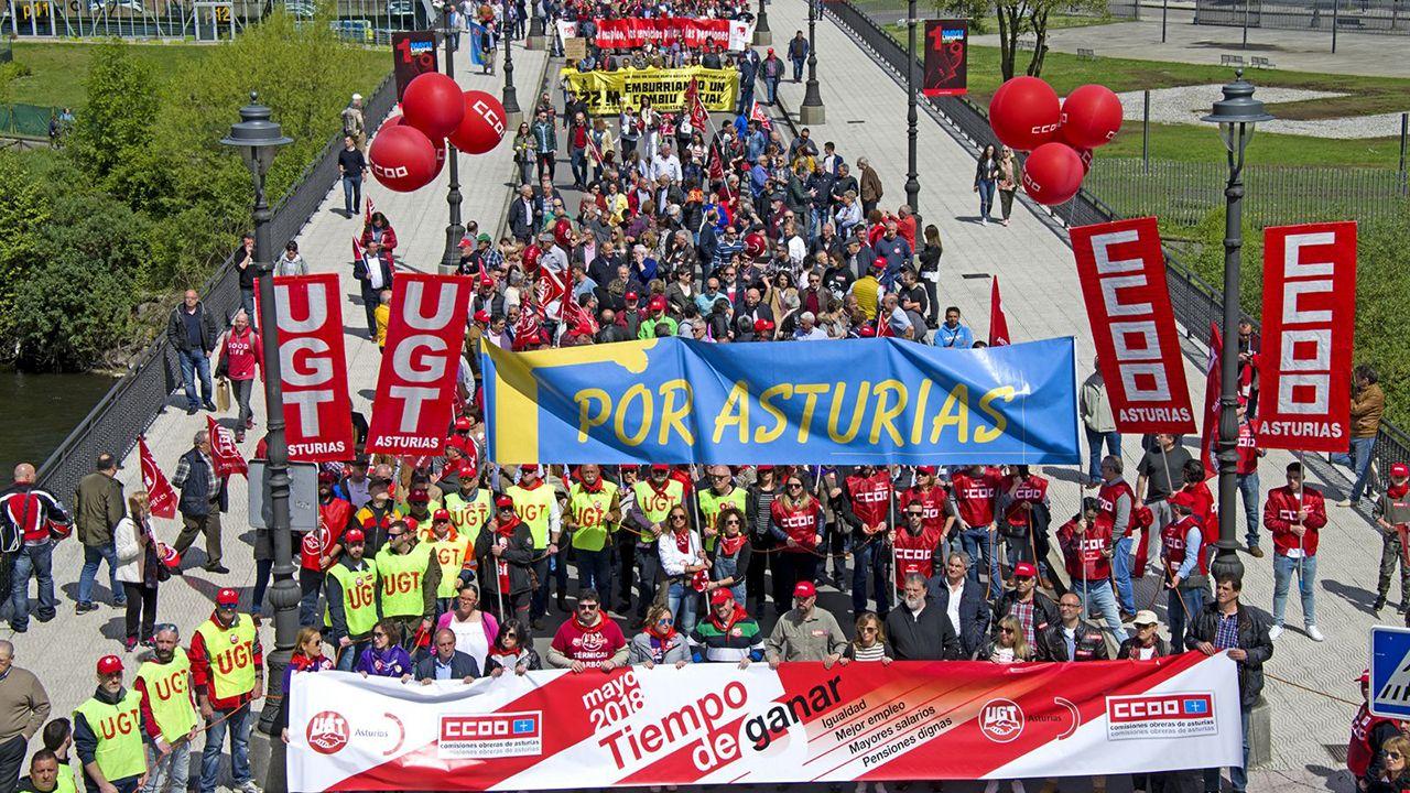 Manifestación del Primero de Mayo de 2018 en Asturias.Ana Botín