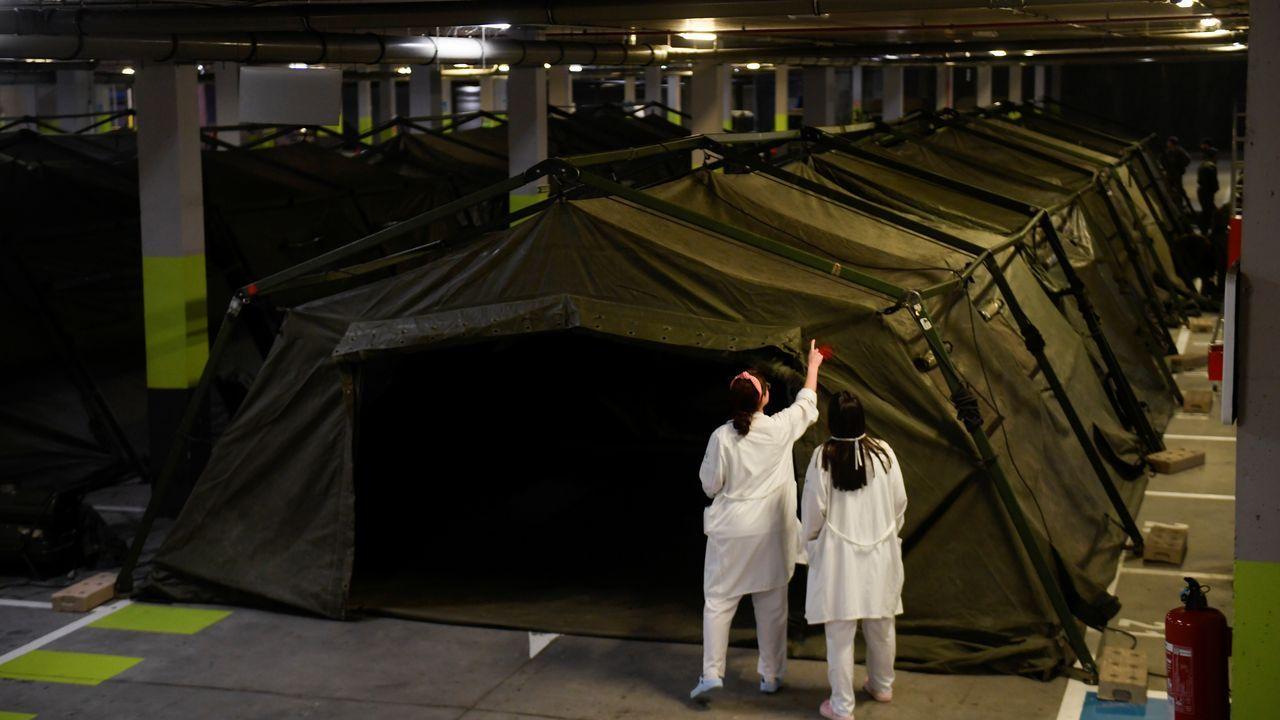 El ejército levanta un hospital de campaña en Oviedo
