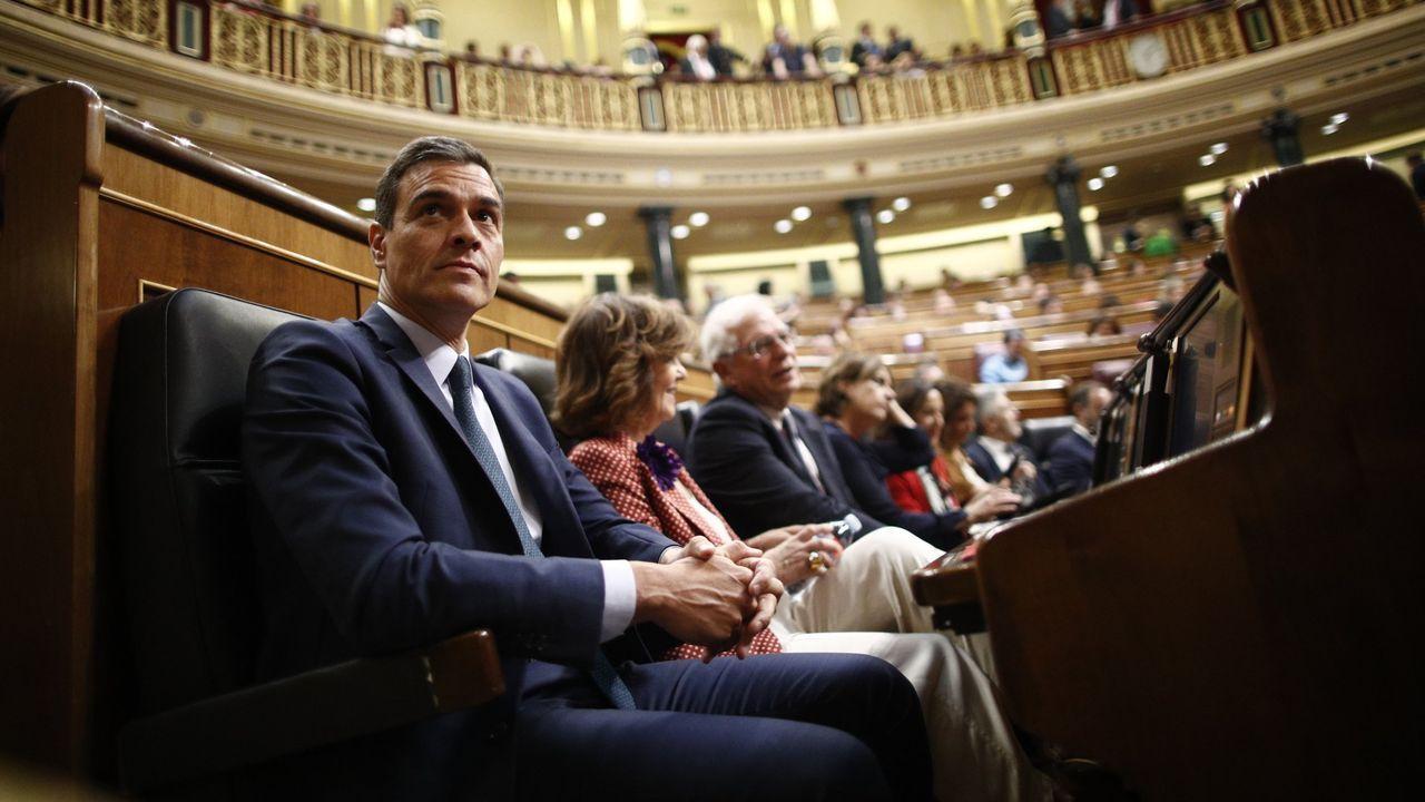 Pedro Sánchez, sentado en su escaño en el Congreso, el 25 de julio del 2019,  antes de la segunda sesión en el Congreso en la que no salió investido