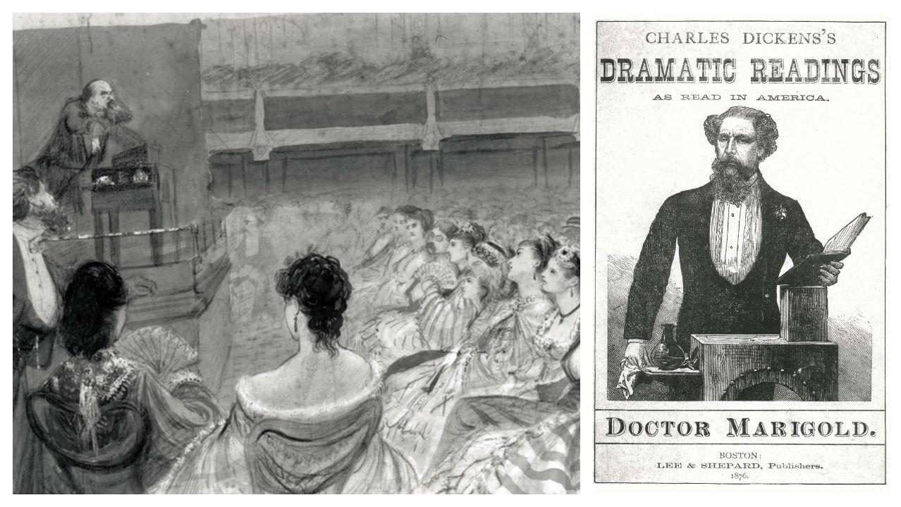 Detalle de un dibujo anónimo de Charles Dickens (el 16 de marzo de 1870, apenas dos meses antes de su muerte) leyendo el pasaje de «Oliver Twist» que describe el asesinato de Nancy a manos de Bill Sikes. A la derecha, póster que publicita las lecturas públicas en Boston de Dickens de su versión adaptada de «Doctor Marigold»
