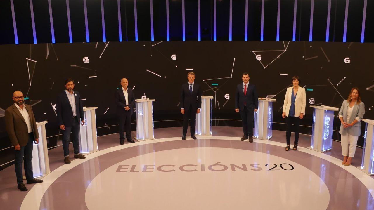 Comparecencia de Antón Gómez Reino.Beiras (en el 2014 como portavoz de AGE), Ana Pontón y Francisco Jorquera, tres de los últimos candidatos a la presidencia de la Xunta por el BNG