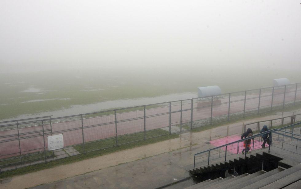 Así estaba ayer el campo de As Lagoas como consecuencia de las trombas de los últimos días.