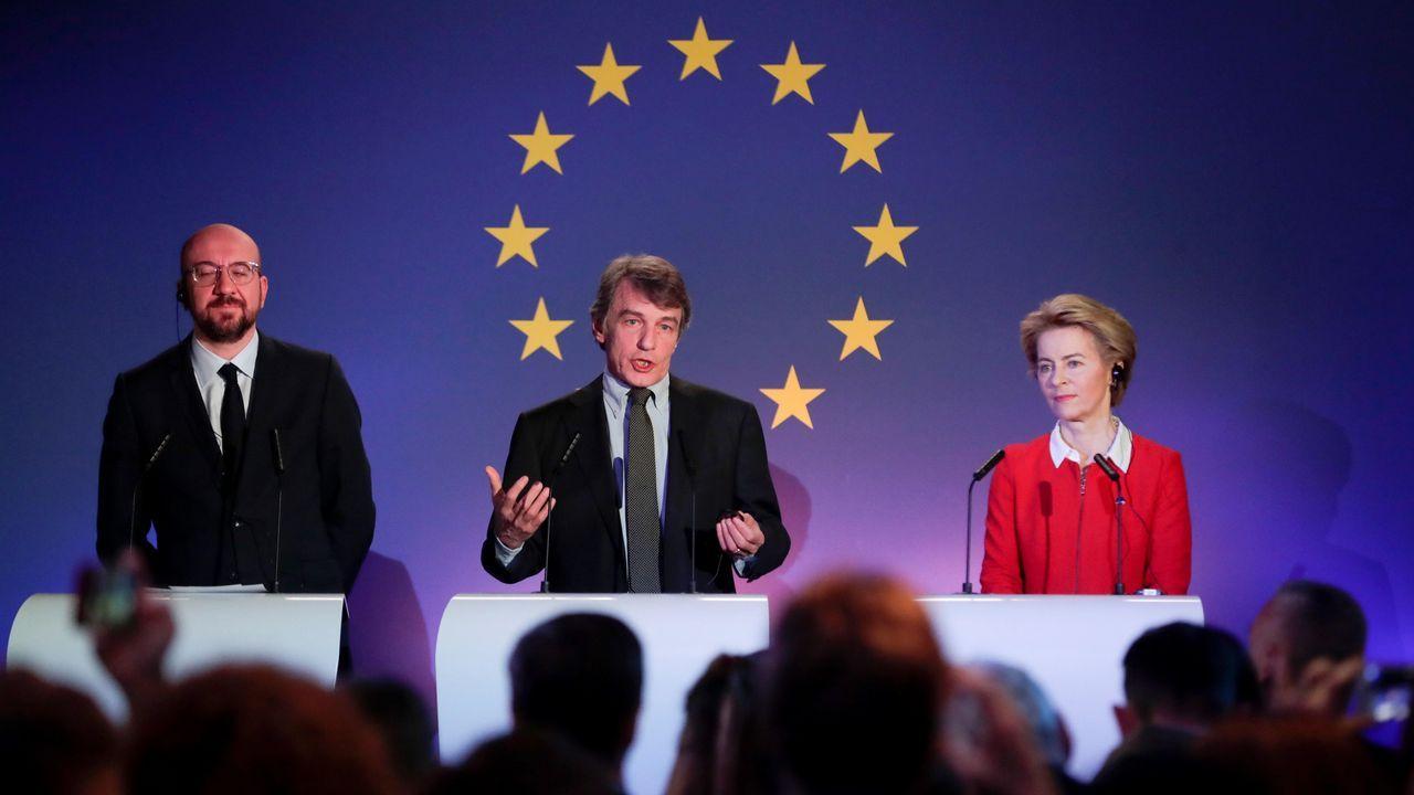 De izquierda a derecha, los presidentes del Consejo Europeo, Charles Michel; de la Eurocámara, David Sassoli; y de la Comisión Europea, Ursula von der Leyen