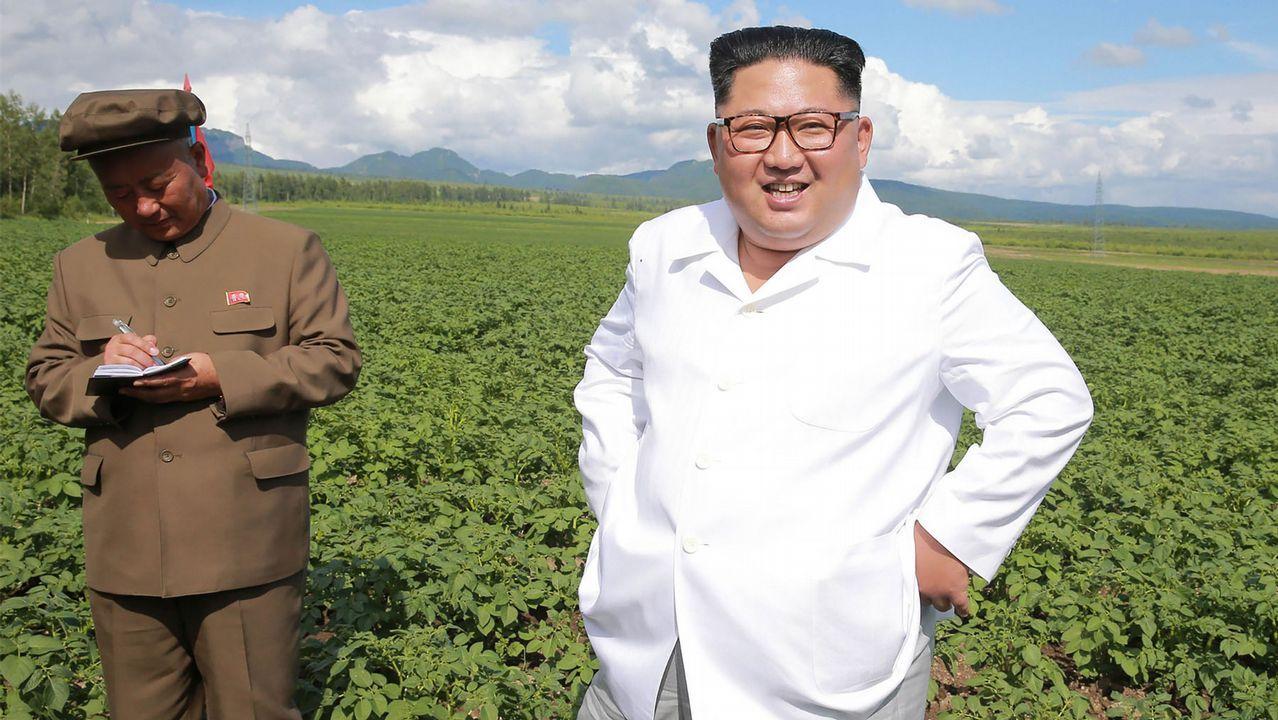 Paisaje seco de Ponga.Kim Jong-un en