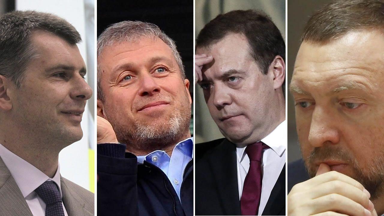 Mijaíl Projorov, Roman Abramovich, Dimitri Medvedev y Oleg Deripaska