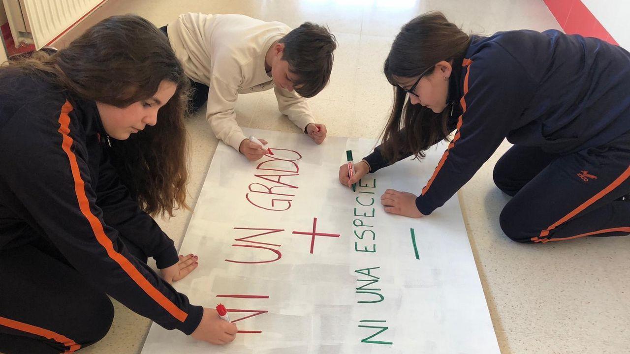 Voz Natura, agentes forestales y alumnado: ¡reforestación en Fisterra!.Carla, Aaron y Cintia preparan los carteles para la protesta. m. Leirós