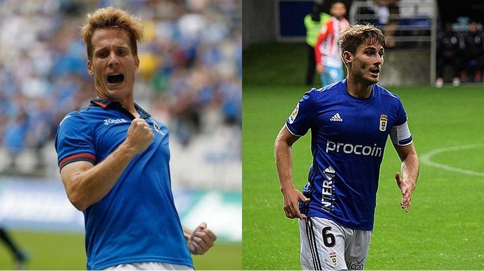 Susaeta y Jon Erice con la camiseta del Oviedo