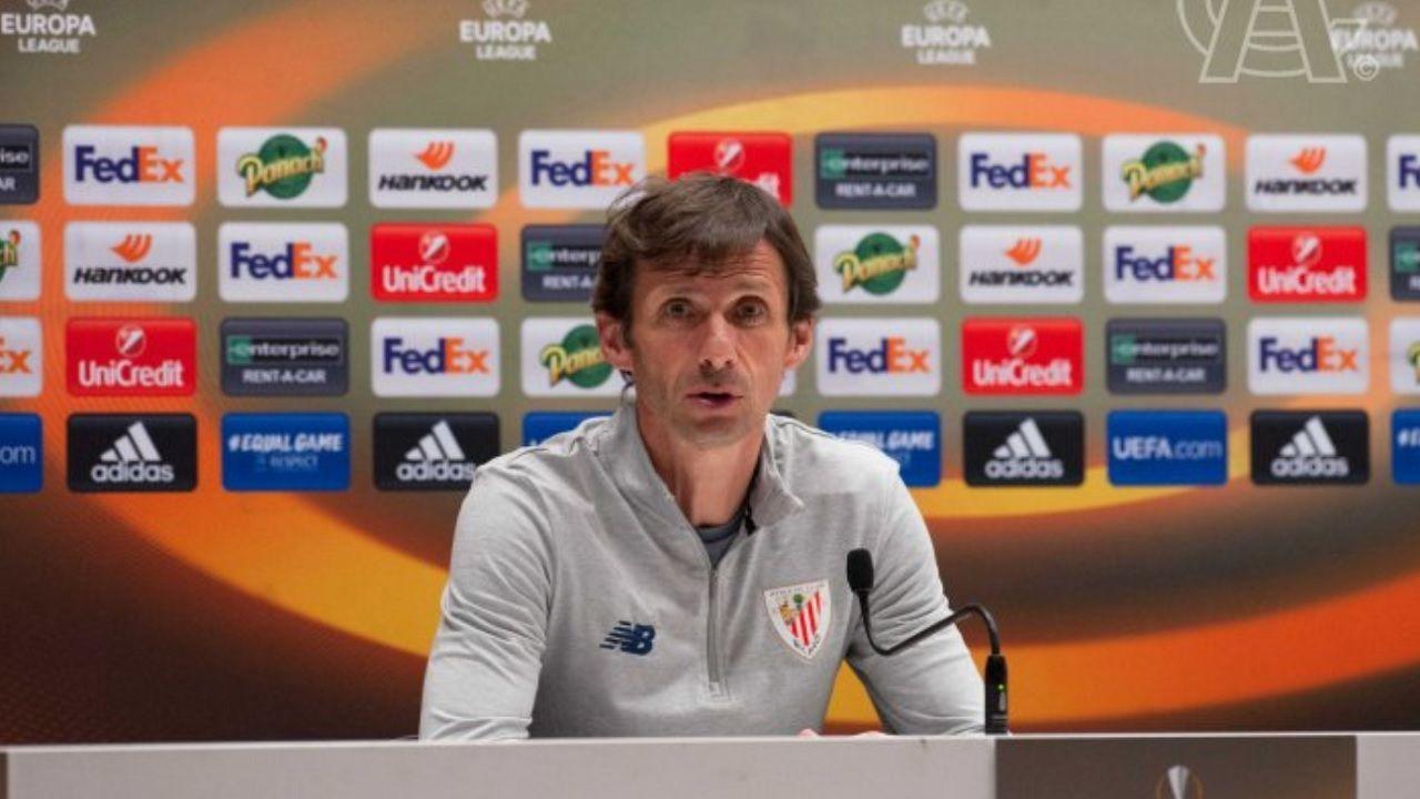 Cuco Ziganda, durante una rueda de prensa con el Athletic de Bilbao