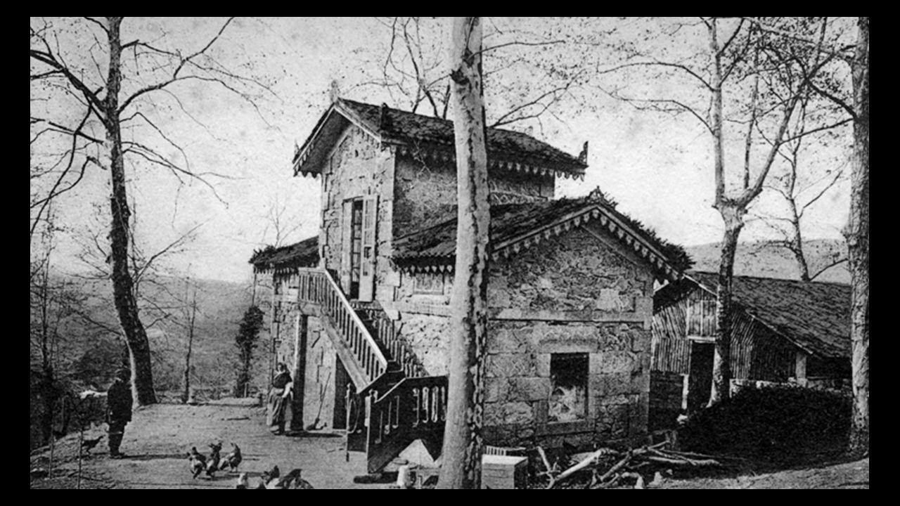 Imaxe do pavillón auxiliar do castelo de Soutomaior na época na que albergaba o Sanatorio Lluria