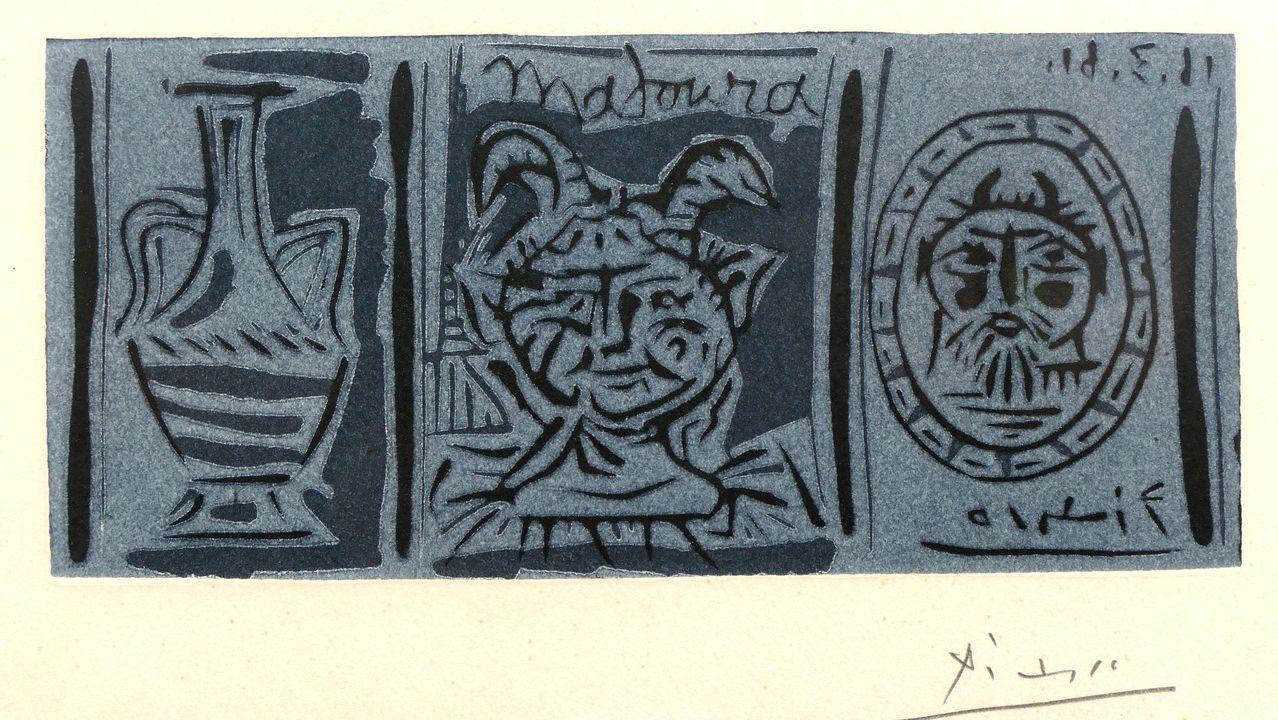 Tríptico de Picasso, a modo de invitación, para la galería Madoura