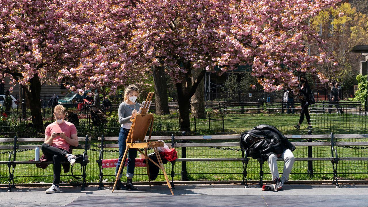 Disfrutando en un parque de Nueva York