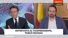 Pablo Iglesias, entrevistado este mediodía por Matías Prats en los informativos de Antena 3