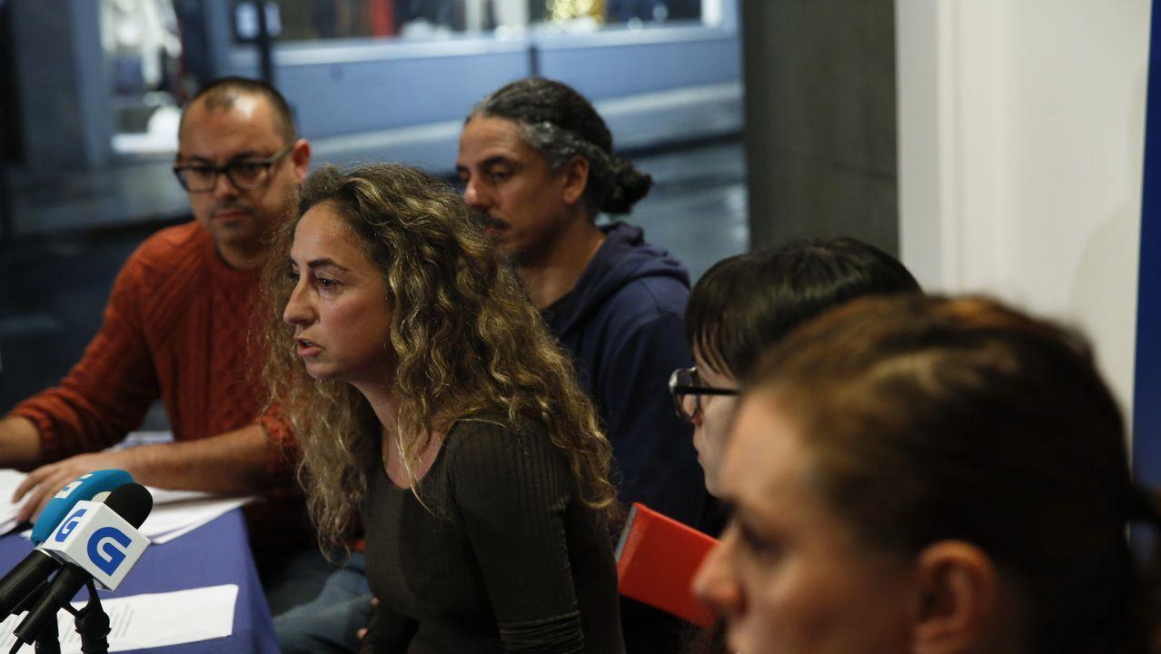 El conflicto abierto en En Marea llega hasta la Guardia Civil.Pablo Nieves, Martiño Ramos y Raquel Bernárdez durante la rueda de prensa que ofrecieron el pasado martes para denunciar que la coordinadora tenía «secuestrado» el proceso de primarias