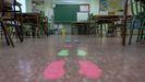 Aula vacia en un colegio de Madrid, donde se han suspendido las clases