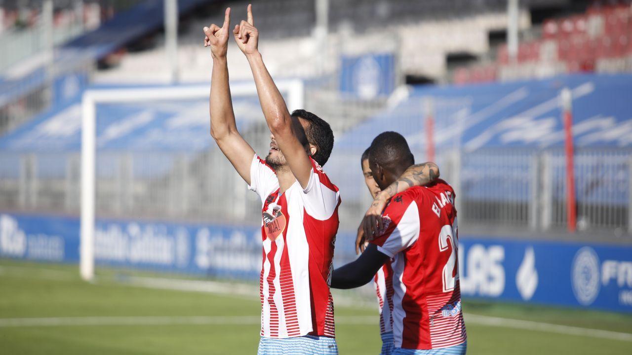 Rueda de prensa Víctor Mollejo.Iriome celebra su gol ante el Girona