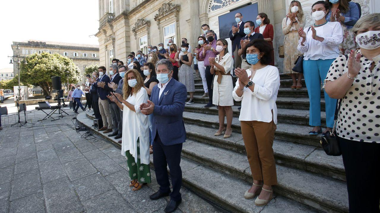 Así fue el homenaje a la Brilat.Carmela Silva participó este lunes en Pontevedra en la movilización contra la violencia machista y vicaria