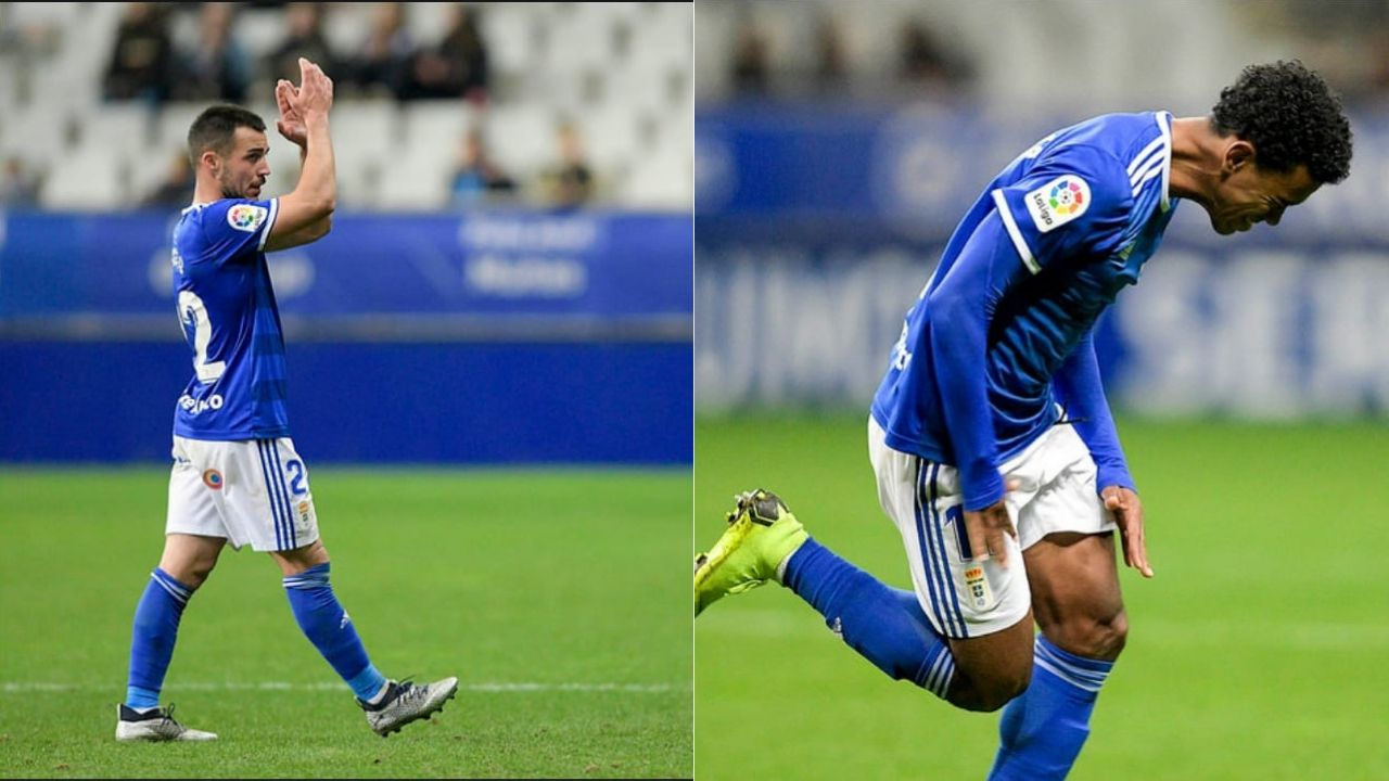 Joselu y Yoel Bárcenas durante el partido ante el Reus