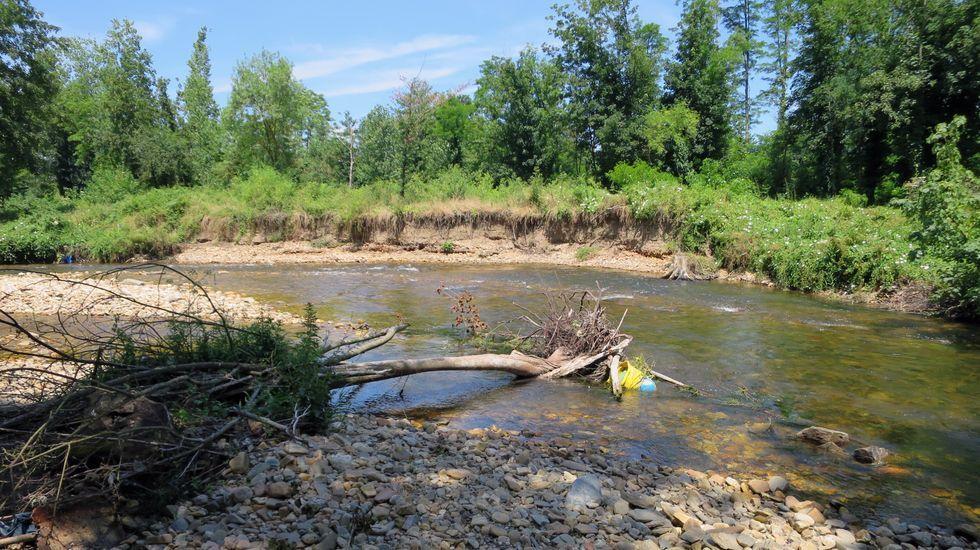Un paseo en globo para combatir el calor.La rotura de la presa hace que río erosione los terrenos en la margen de Cobas