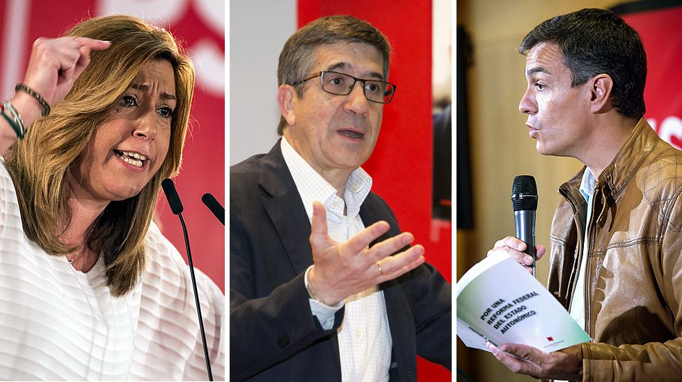 Imagen de archivo de la proclamación de Pedro Sánchez como secretario general del PSOE, recibiendo la felicitación de Susana Díaz. Era 2014