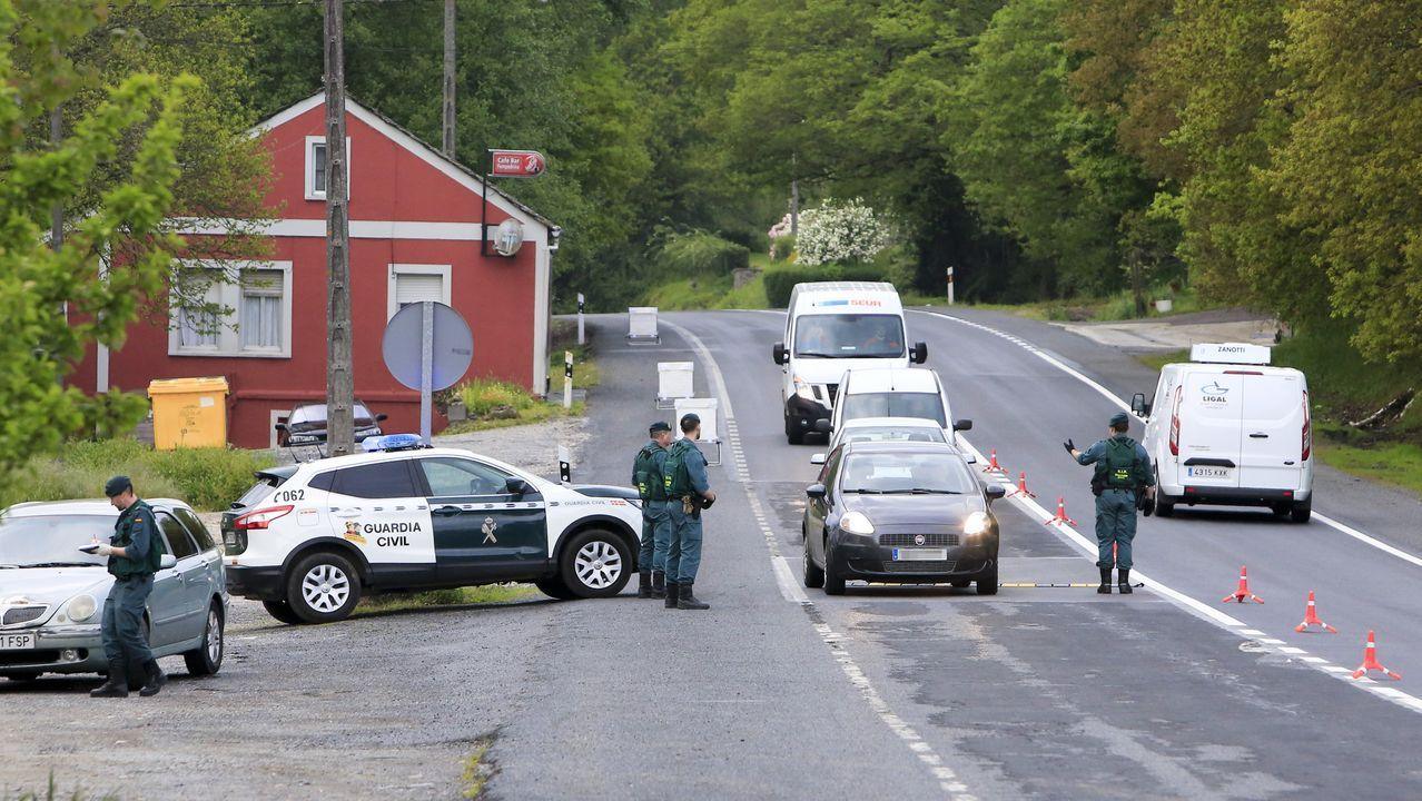 Un control de carretera de la Guardia Civil cerca de Lugo