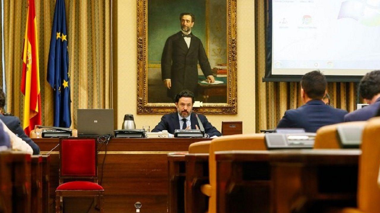 El coordinador del grupo de trabajo de Unión Europea de la Comisión para la Reconstrucción Social y Económica, Guillermo Mariscal, durante la reunión para votar las enmiendas presentadas a los borradores que sirven de base para elaborar las conclusiones