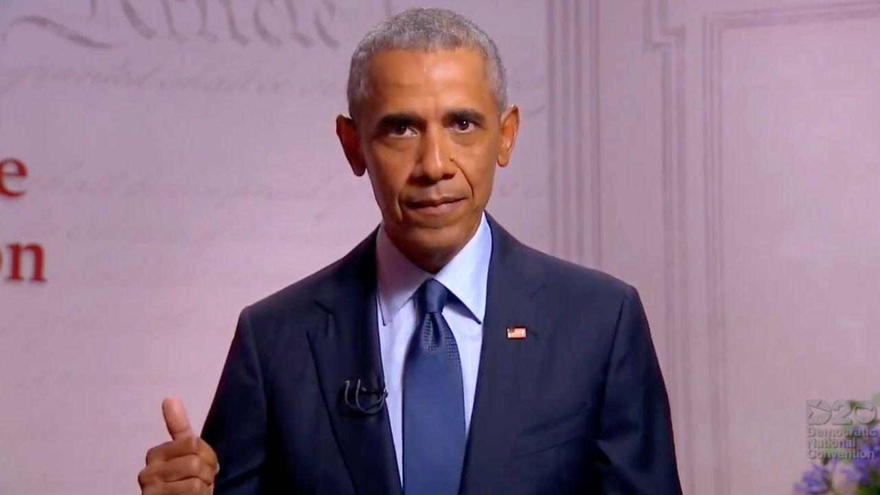 Barack Obama, durante su intervención en la Convención Demócrata que confirmó la candidatura presidencial de Joe Biden