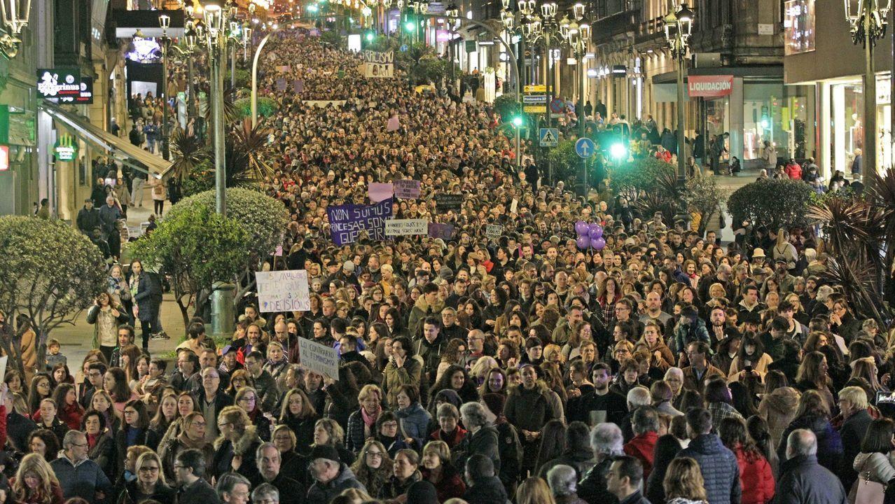 Concentraciones por el 8M por todo Asturias.Miles de personas participan en la concentración feminista convocada en Gijón con motivo del Día Internacional de la Mujer