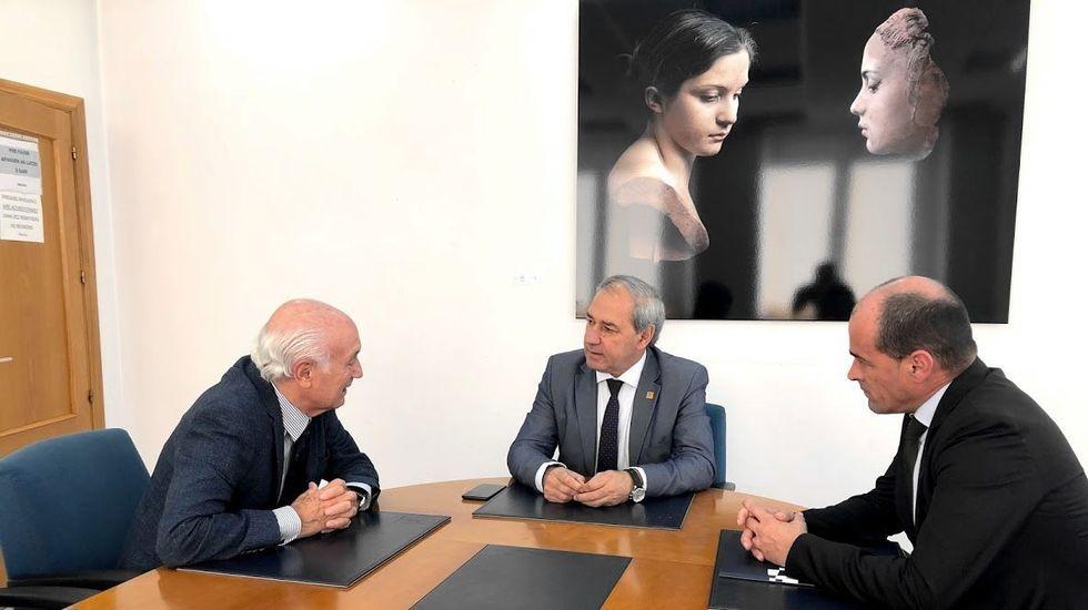 José Fontenla, José Tomé y Jaime López, en la reunión de este lunes en Monforte