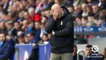 Rozada Huesca Real Oviedo El Alcoraz.Javi Rozada se lamenta durante el encuentro ante el Huesca