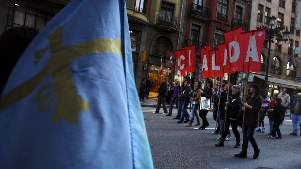 Manifestación en defensa de la oficialidad de la llingua asturiana