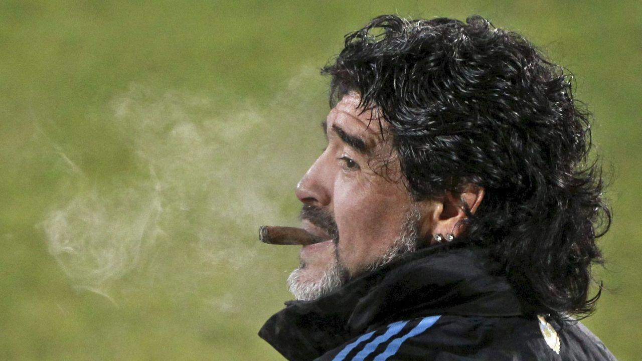 Dirigiendo un entrenamiento de la selección argentina