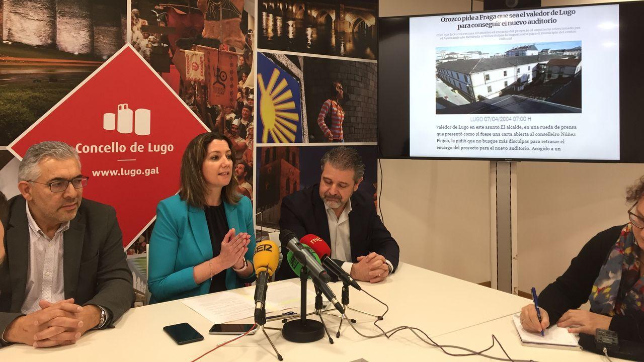 ÁLBUM: El segundo día de cuarentena, en imágenes.La alcaldesa de Lugo junto a los ediles Miguel Fernández y Miguel Couto