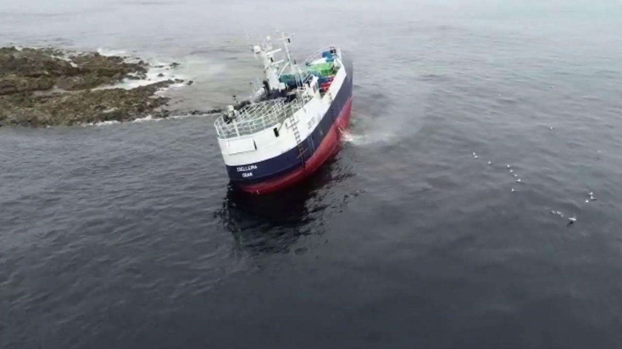 Naufragio de un barco de armador gallego en Escocia