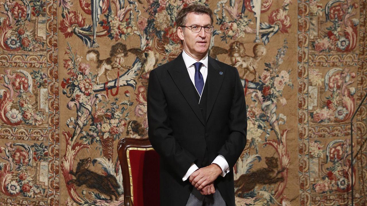 Distinciones de la asociación Días de Galicia en Asturias.El presidente de la Xunta, Alberto Núñez Feijóo, al comienzo de la misa de la Ofrenda Nacional en la catedral de Santiago de Compostela