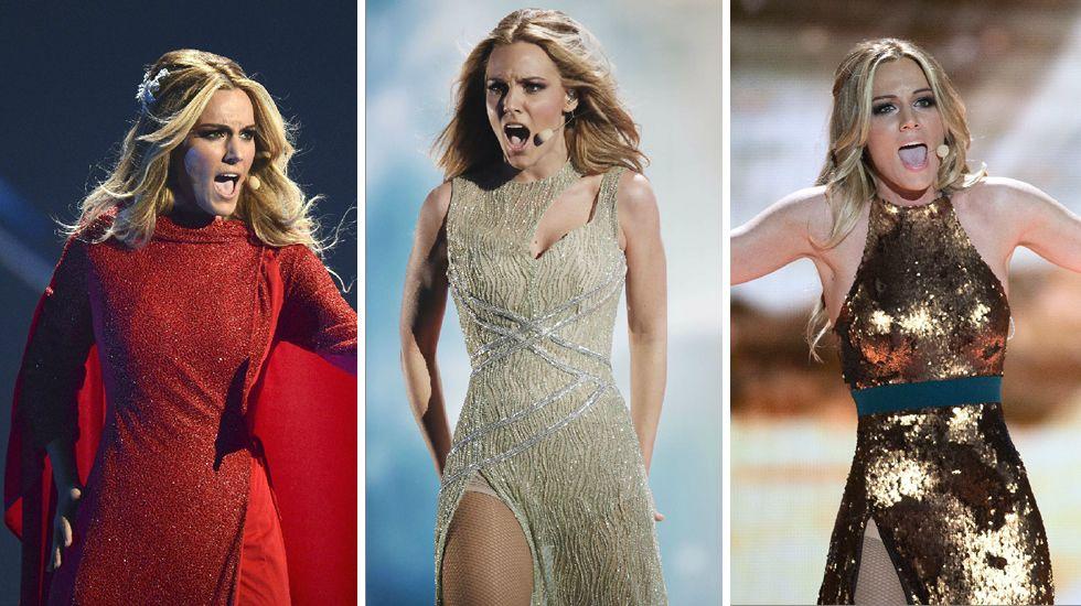 Los tres vestidos que ha lucido Edurne durante los ensayos para Eurovisión.