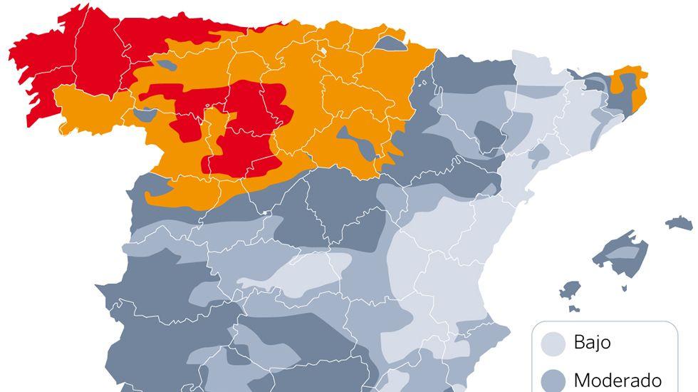 Riesgo de incendio en España