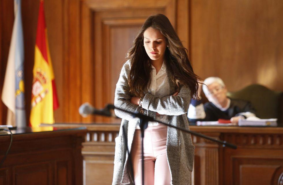 Raquel Estévez, ayer, en la vista del juicio celebrado en Pontevedra.