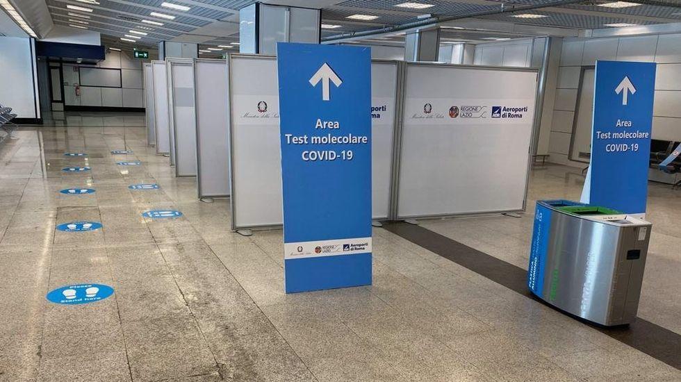 Una de las zonas habilitadas en los aeropuertos de Fiumicino y Ciampino donde se realizarán las pruebas covid-19